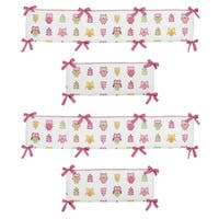 Sweet Jojo Designs Pink, Taupe, Brown, Yellow, White and Green Happy Owl Collection Baby Crib Bumper Pad