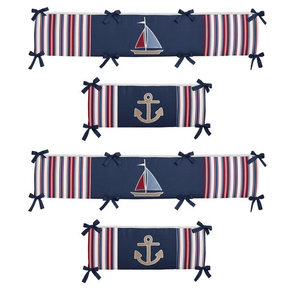 Sweet Jojo Designs Navy Blue, Brick Red, Chambray Blue, Camel and White Nautical Nights Collection Baby Crib Bumper Pad