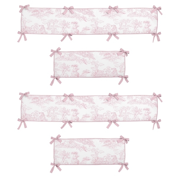 Sweet Jojo Designs Pink French Toile Collection Baby Crib Bumper Pad