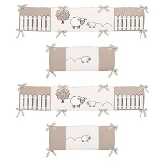 Sweet Jojo Designs Taupe, Cream and Off-White Little Lamb Collection Baby Crib Bumper Pad
