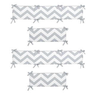 Sweet Jojo Designs Gray and White Chevron Collection Baby Crib Bumper Pad