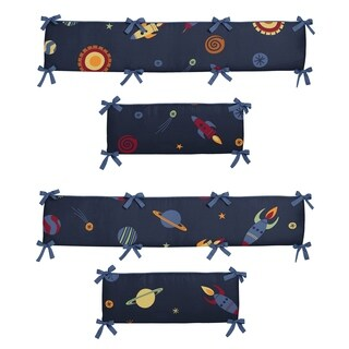 Sweet Jojo Designs Navy Blue, Red, Orange, Yellow and Green Space Galaxy Collection Baby Crib Bumper Pad