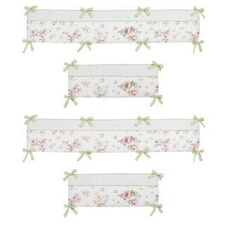 Sweet Jojo Designs Pink, Sage Green, Off-White and White Riley's Roses Collection Baby Crib Bumper Pad