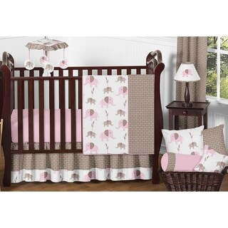 Sweet Jojo Designs Pink Mod Elephant 11-piece Bumperless Crib Bedding Set