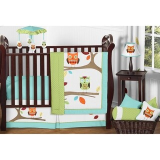 Sweet JoJo Designs Hooty Owl 11-piece Bumperless Crib Bedding Set