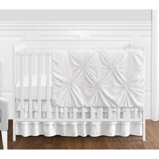Sweet Jojo Designs White Shabby Chic Harper Collection Girl 4-piece Bumperless Crib Bedding Set