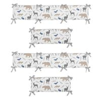 Sweet Jojo Designs Grey, White, Blue and Taupe Woodland Animals Collection Baby Crib Bumper Pad