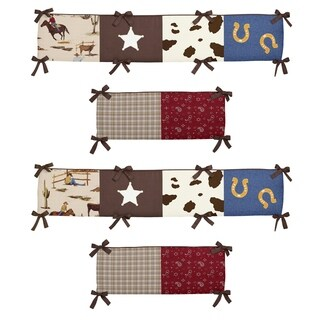 Sweet Jojo Designs Chocolate Brown, Red, Cream, Blue, Green and Gold Wild West Collection Baby Crib Bumper Pad