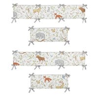 Sweet Jojo Designs White, Grey, Blue, Green and Earth Tones Woodland Toile Collection Baby Crib Bumper Pad