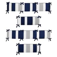 Sweet Jojo Designs Navy Blue and Gray Stripe Collection Baby Crib Bumper Pad