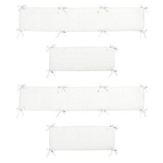 Sweet Jojo Designs White Minky Dot Collection Baby Crib Bumper Pad