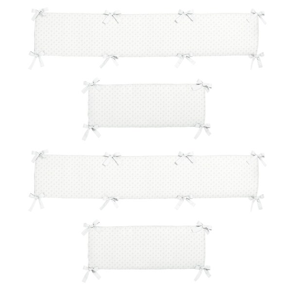 Sweet Jojo Designs White Minky Dot Collection Baby Crib Bumper Pad