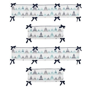 Sweet Jojo Designs Grey and Aqua Mountains Collection Baby Crib Bumper Pad