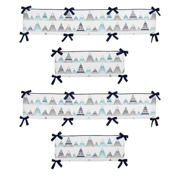 Sweet Jojo Designs Grey and Aqua Mountains Collection Baby Crib Bumper Pad