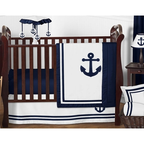 Sweet Jojo Designs Navy Blue Anchors Away Collection 11-piece Bumperless Crib Bedding Set