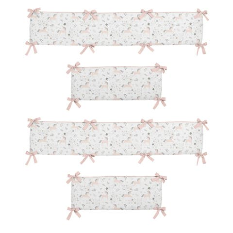 Sweet Jojo Designs Blush Pink, Grey, Gold and White Unicorn Collection Baby Crib Bumper Pad