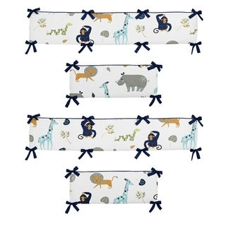 Sweet Jojo Designs Navy Blue, Turquoise, Lime Green, Orange, Grey and White Mod Jungle Collection Baby Crib Bumper Pad