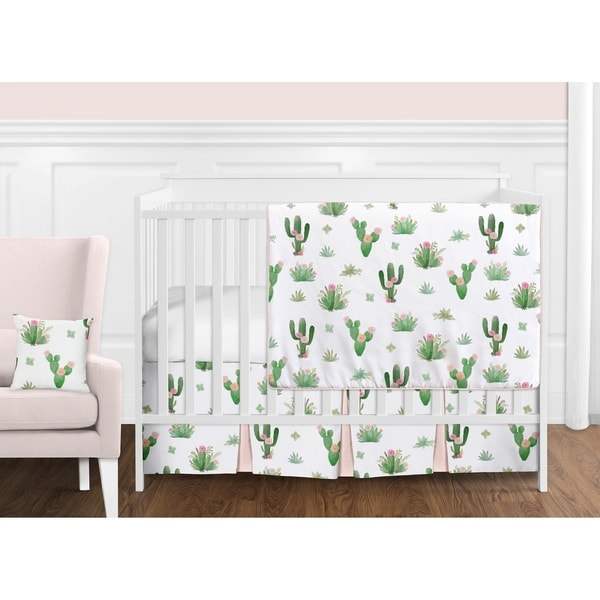 Sweet Jojo Designs Pink and Green Boho Watercolor Cactus Floral Collection Girl 11-piece Bumperless Crib Bedding Set