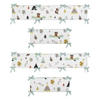 Sweet Jojo Designs Aqua, Black, Yellow, Stone, Orange, Brown and White Outdoor Adventure Collection Baby Crib Bumper Pad