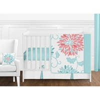 Sweet Jojo Designs Turquoise and Coral Floral Emma Collection 11-piece Bumperless Crib Bedding Set
