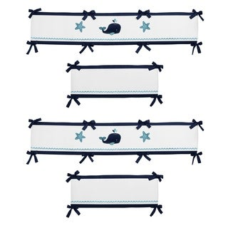 Sweet Jojo Designs Navy Blue, Turquoise, Aqua and White Whale Collection Baby Crib Bumper Pad