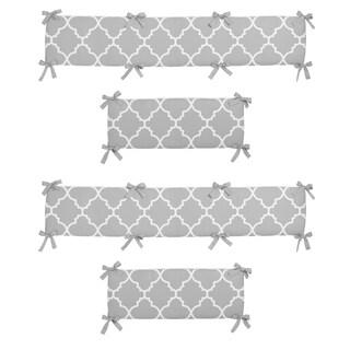 Sweet Jojo Designs Gray and White Trellis Collection Baby Crib Bumper Pad