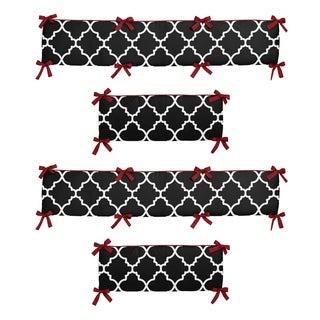 Sweet Jojo Designs Red and Black Trellis Collection Baby Crib Bumper Pad