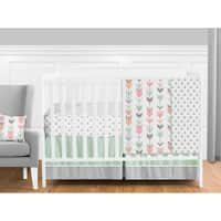 Sweet Jojo Designs Coral and Mint Mod Arrow Collection 11-piece Bumperless Crib Bedding Set