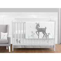 Sweet Jojo Designs Gray Woodland Forest Deer Collection 11-piece Bumperless Crib Bedding Set