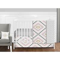 Sweet Jojo Designs Blush Pink and Grey Boho and Tribal Aztec Collection Baby Girl 11-piece Bumperless Crib Bedding Set