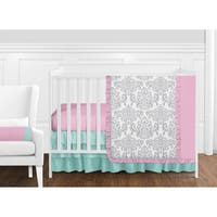Sweet Jojo Designs Pink and Turquiose Skylar Damask Collection 11-piece Bumperless Crib Bedding Set