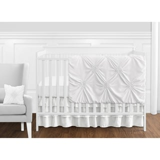 Sweet Jojo Designs White Shabby Chic Harper Collection Girl 11-piece Bumperless Crib Bedding Set