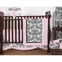 Sweet Jojo Designs Pink and Black Sophia 11-piece Bumperless Crib Bedding Set