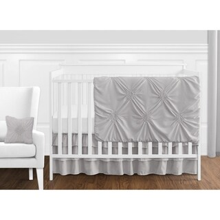 Sweet Jojo Designs Grey Shabby Chic Harper Collection Girl 11-piece Bumperless Crib Bedding Set
