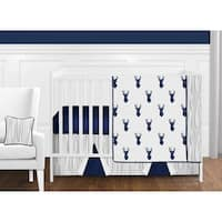Sweet Jojo Designs 11-piece Boy Bumperless Crib Bedding Set for the Navy and White Woodland Deer Stag Collection