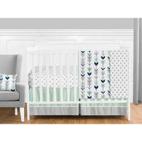 Sweet Jojo Designs Navy Blue Grey and Mint Mod Arrow Collection 11-piece Bumperless Crib Bedding Set