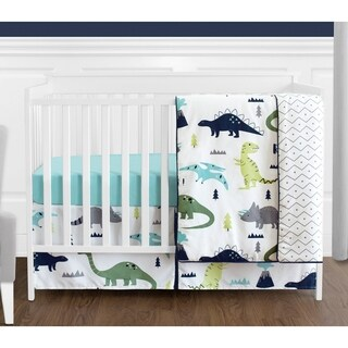 Sweet Jojo Designs Blue and Green Mod Dino Modern Dinosaur Collection 4-piece Bumperless Crib Bedding Set