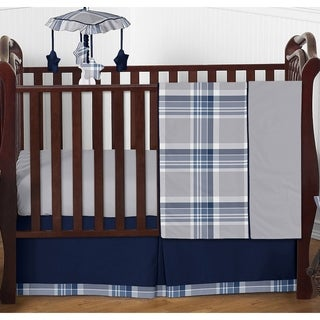 Sweet Jojo Designs Boys' Navy Blue and Grey Plaid Collection 4-piece Bumperless Crib Bedding Set