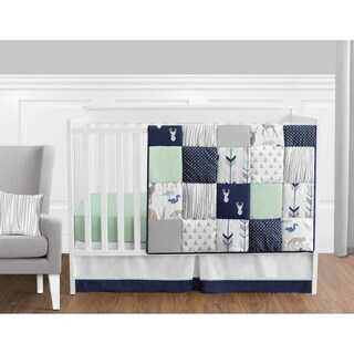 Sweet Jojo Designs Navy and Mint Woodsy Collection 11-piece Bumperless Crib Bedding Set