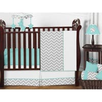 Sweet JoJo Designs Grey and Turquoise Zig Zag 11-Piece Bumperless Crib Bedding Set