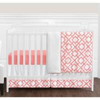 Sweet Jojo Designs White and Coral Mod Diamond Collection 4-piece Bumperless Crib Bedding Set