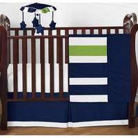 Sweet Jojo Designs Navy Blue/ Lime Green/ White Stripe 4-piece Bumperless Crib Bedding Set