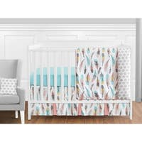 Sweet Jojo Designs Turquoise and Coral Feather Collection 11-piece Bumperless Crib Bedding Set