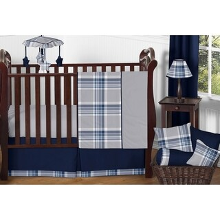 Sweet Jojo Designs Boys' Navy Blue and Grey Plaid Collection 11-piece Bumperless Crib Bedding Set