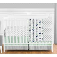 Sweet Jojo Designs Navy Blue Grey and Mint Mod Arrow Collection 4-piece Bumperless Crib Bedding Set