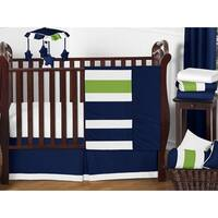 Sweet Jojo Designs Navy Blue/ Lime Green/ White Stripe 11-piece Bumperless Crib Bedding Set