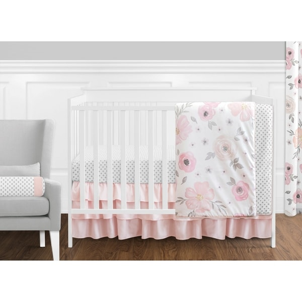 Sweet Jojo Designs Pink, Grey & White Shabby Chic Watercolor Floral Collection Baby Girl 11-piece Bumperless Crib Bedding Set