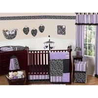Sweet Jojo Designs Purple, Black, and White Damask Kaylee 11-piece Bumperless Crib Bedding Set