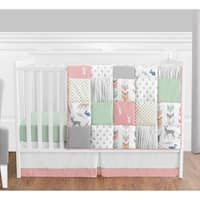 Sweet Jojo Designs Coral and Mint Woodsy Collection 4-piece Bumperless Crib Bedding Set