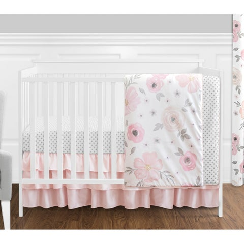 Sweet Jojo Designs Pink, Grey & White Shabby Chic Watercolor Floral Collection Baby Girl 4-piece Bumperless Crib Bedding Set